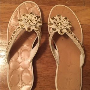Coach cream and gold sandals - Size 6